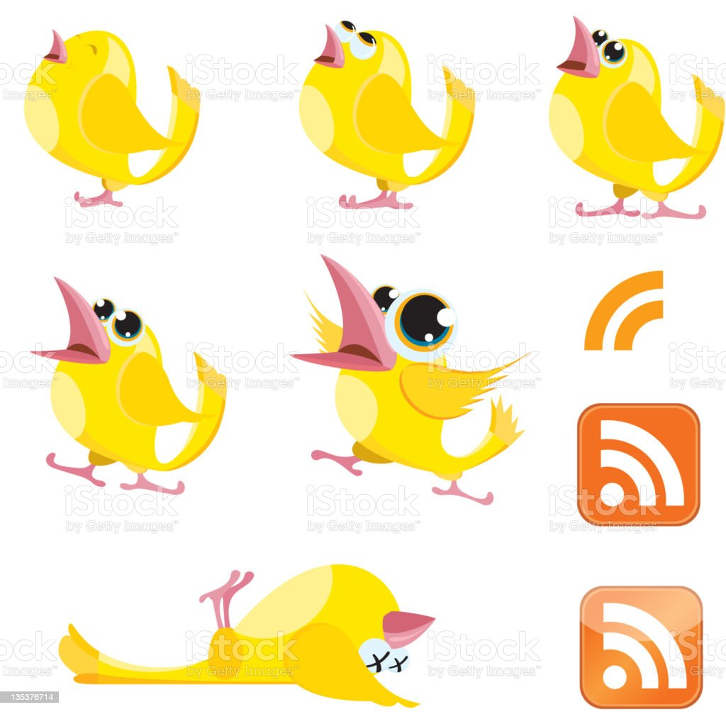 Talking Canaries and RSS symbol royalty-free stock vector art