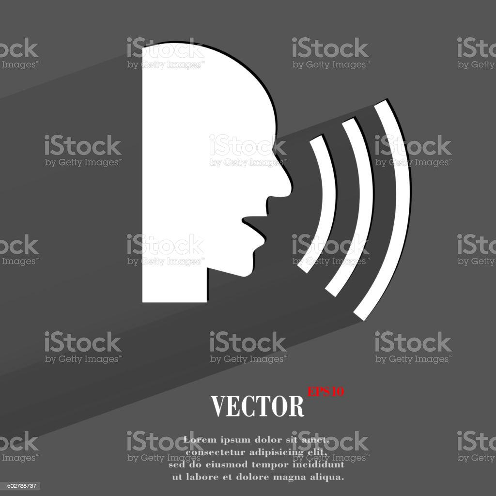 talking. Flat modern web button with long shadow and space vector art illustration