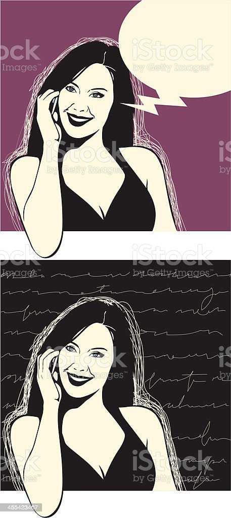 talking on phone sketch vector art illustration