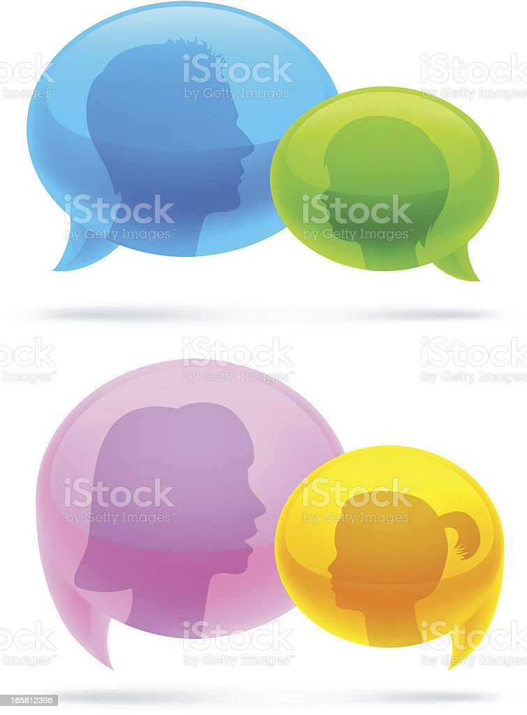 Talking   Parents and kids royalty-free stock vector art