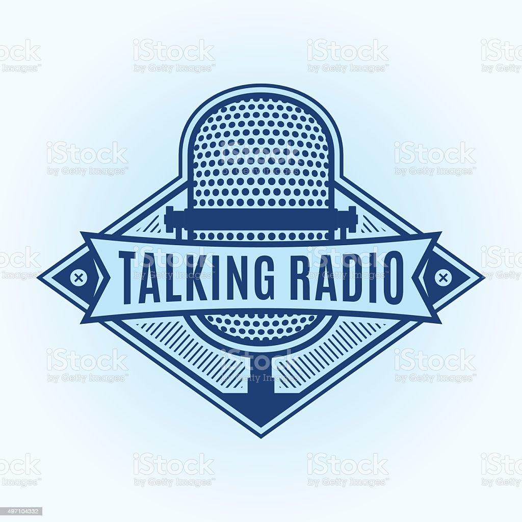 Talking Radio Label vector art illustration