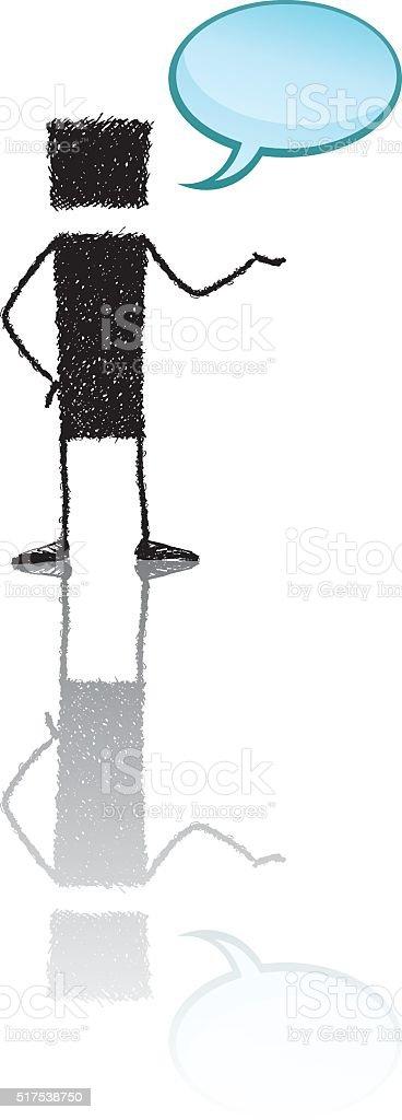 Talking stick figure vector art illustration