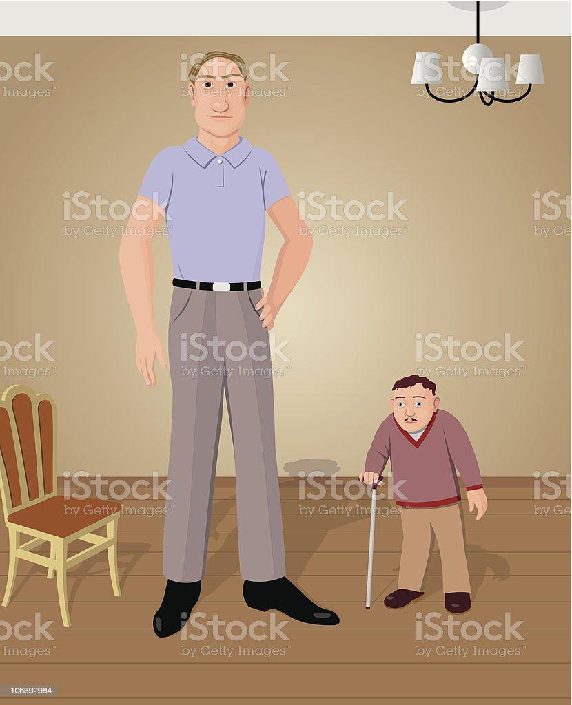 Tall and short vector art illustration