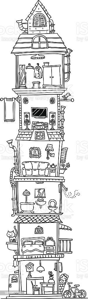 Tall building illustration in black and white vector art illustration