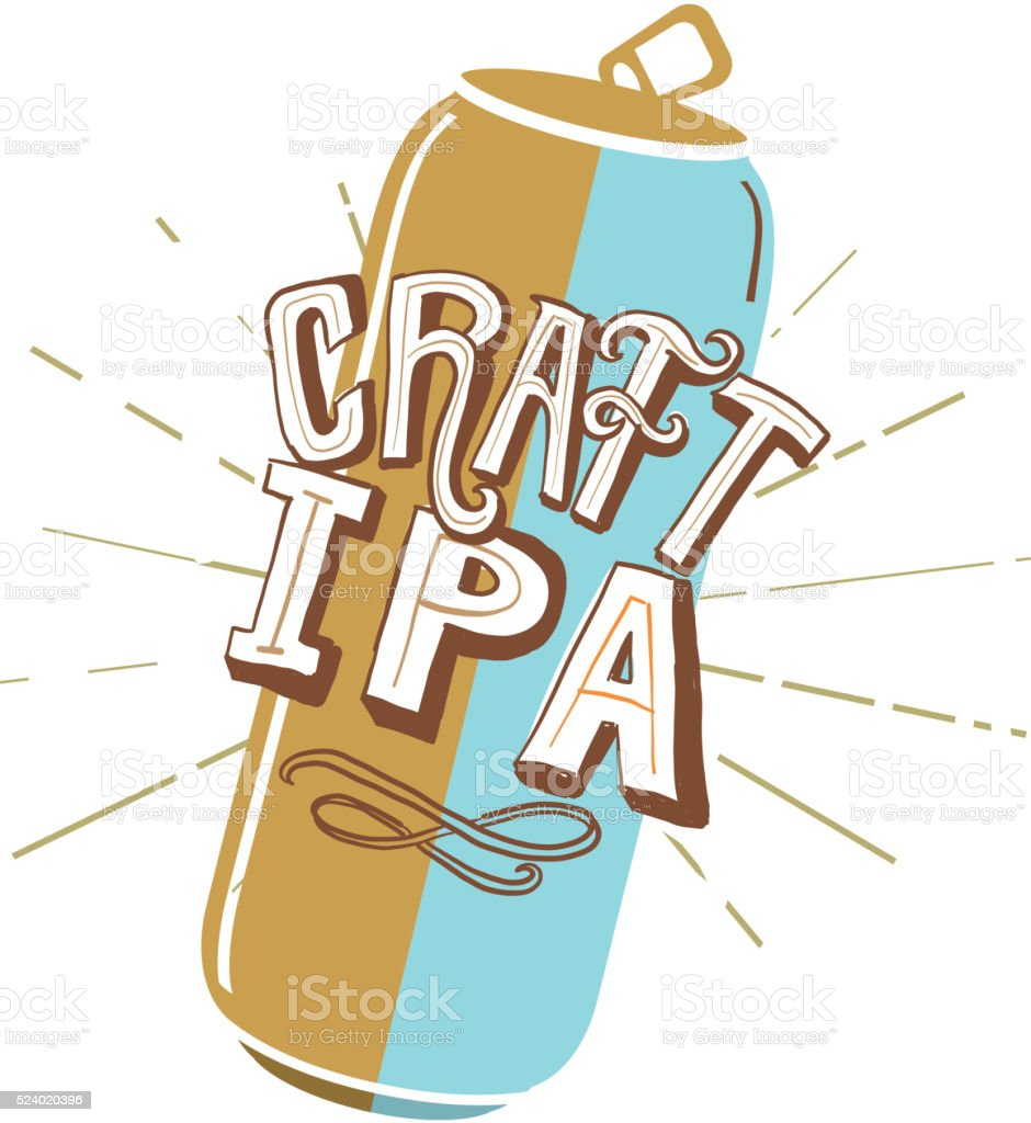 IPA Tall Can label hand lettering design vector art illustration