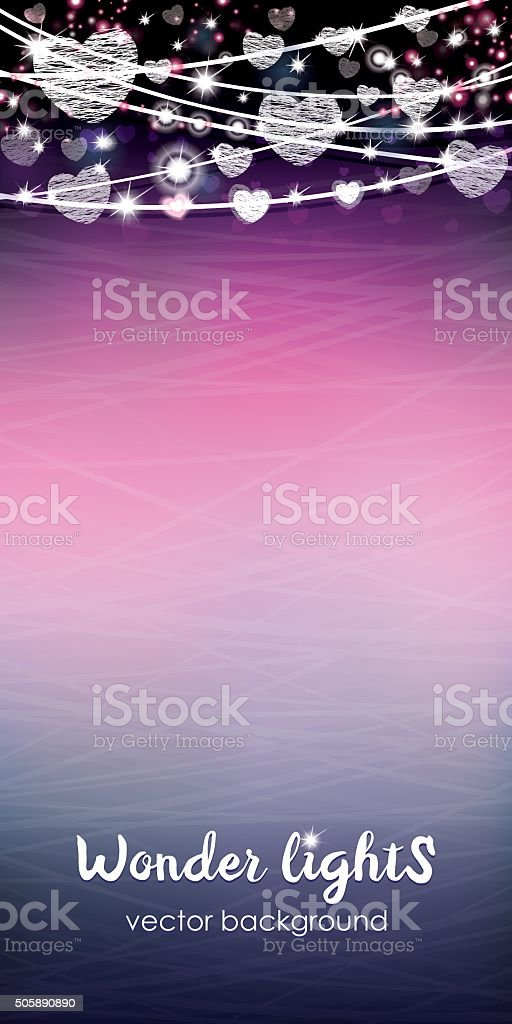 Tall card with a rope lights on a blurred background vector art illustration
