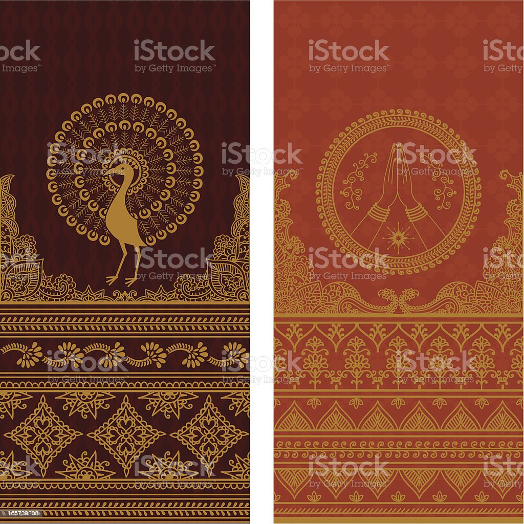 Tall couple of gold sari boarders royalty-free stock vector art