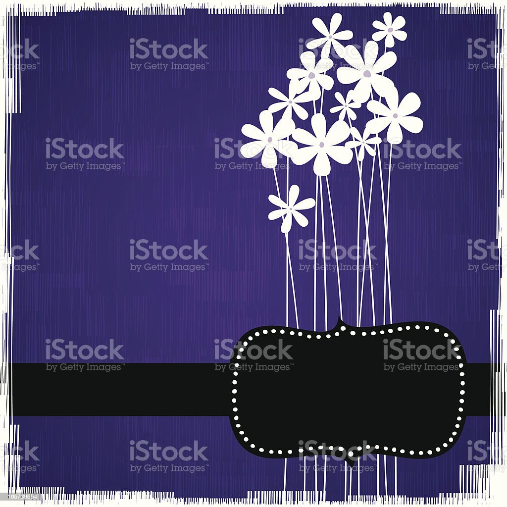 Tall flowers background with frame royalty-free stock vector art