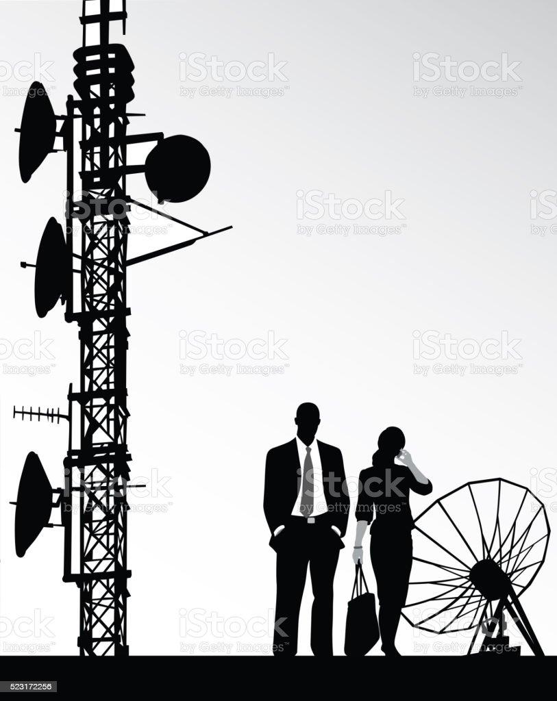 Tall Radio Tower News vector art illustration