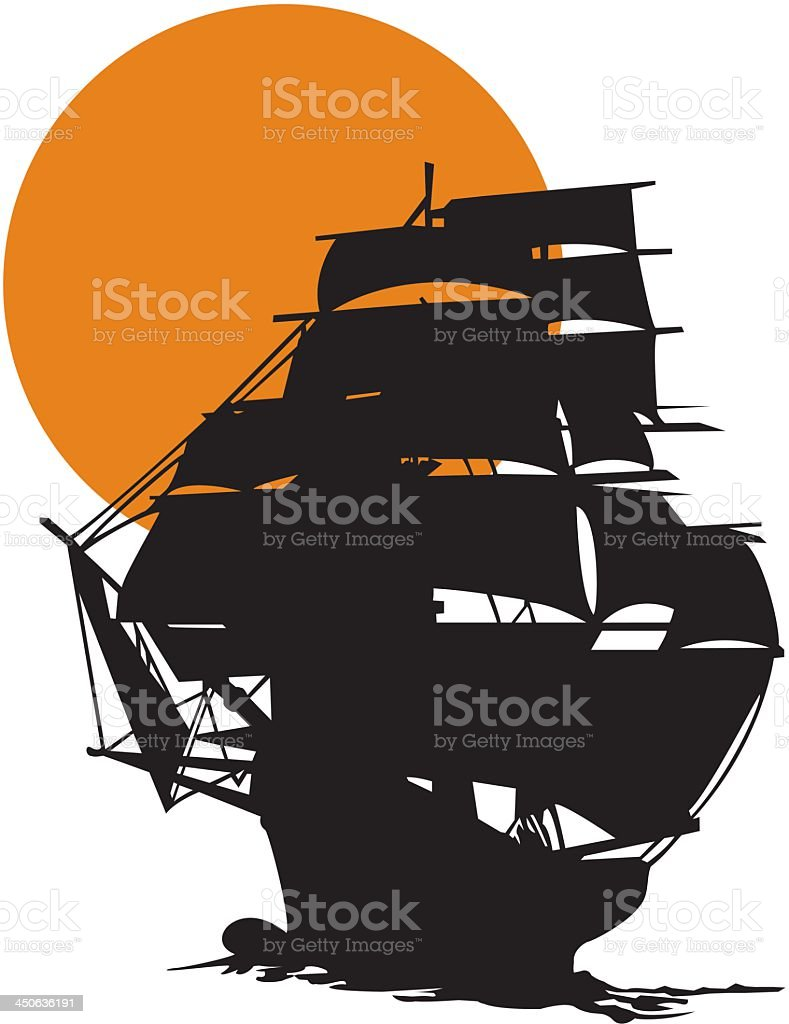 Tall Ship Silhouetted Against Sunset royalty-free stock vector art