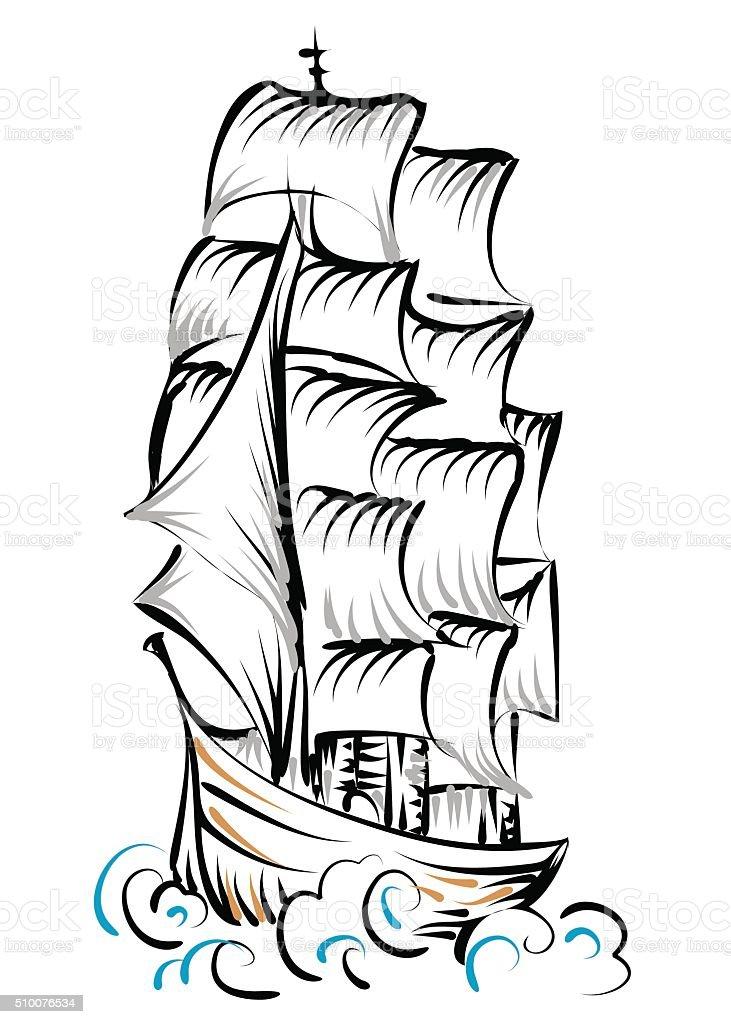tall ship vector art illustration