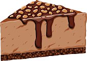 Tall Slice of Chocolate Cheesecake Topped with Crushed Peanuts
