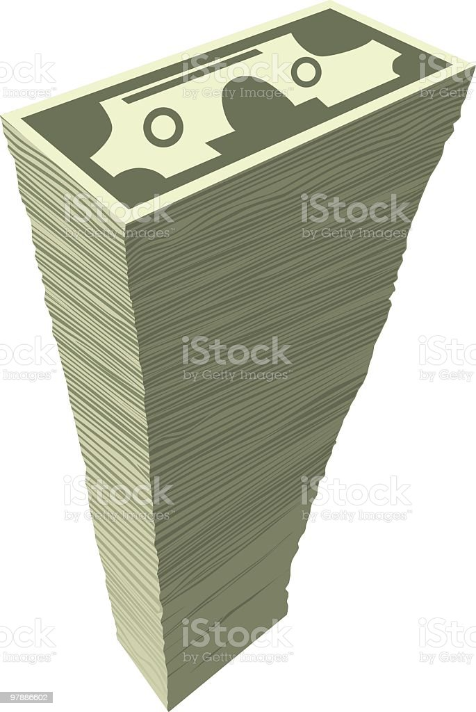 Tall stack of money royalty-free stock vector art