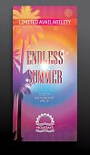 Tall summer flyer-card with palms 100x210mm