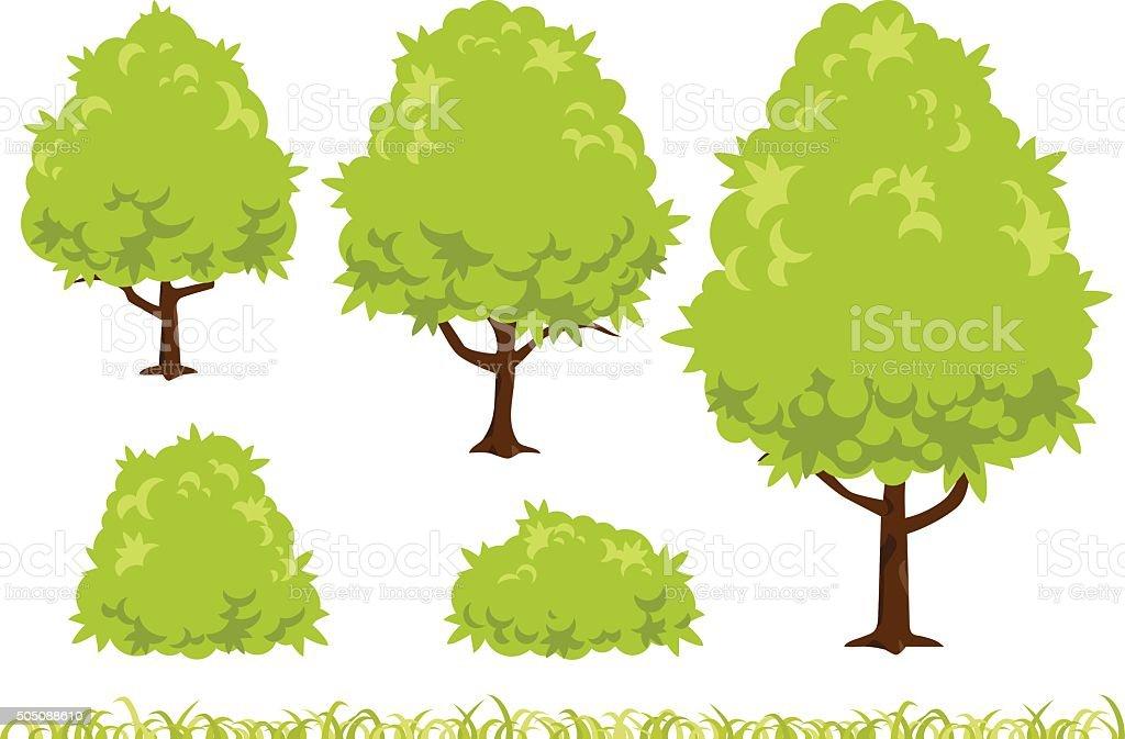 Tall tree and bush illustration vector art illustration
