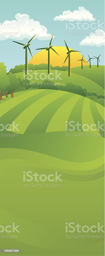 Tall Turbine Landscape royalty-free stock vector art
