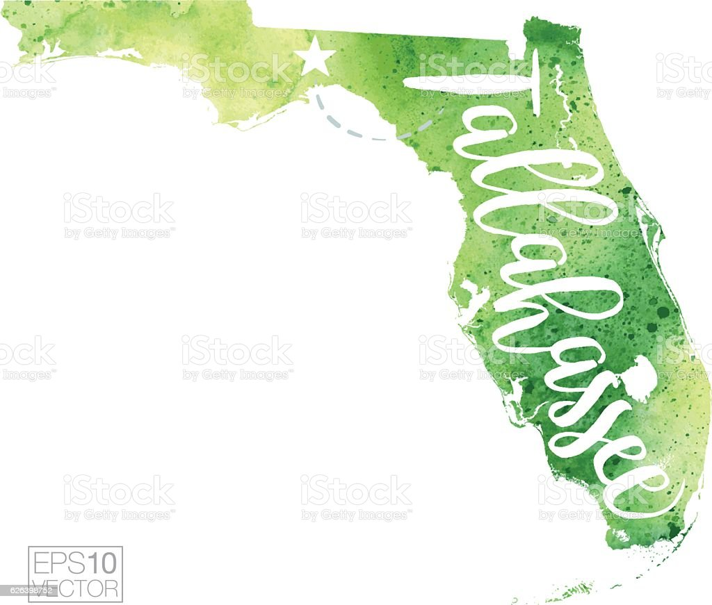 Tallahassee Florida Usa Vector Watercolor Map Stock Vector Art - Florida keys map art