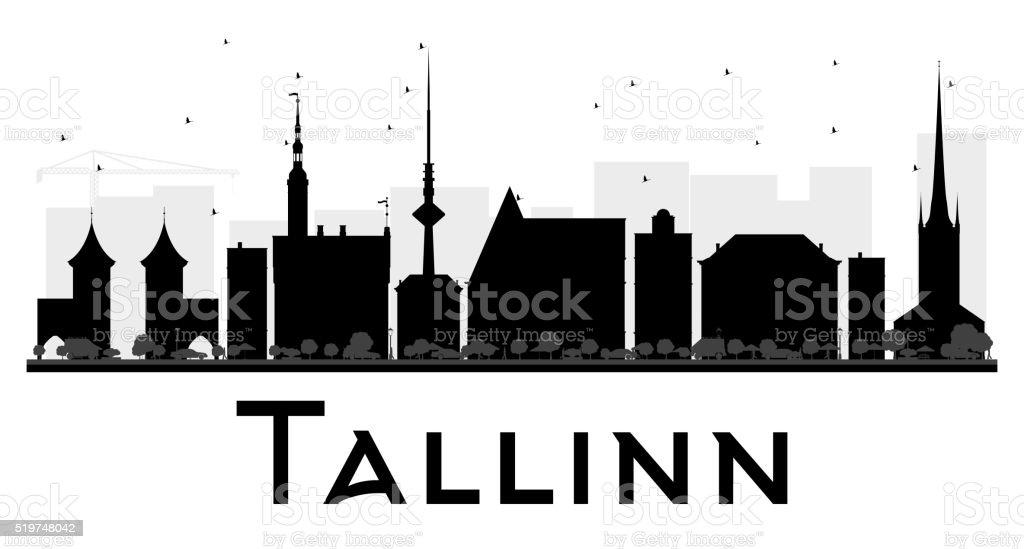 Tallinn City skyline black and white silhouette. vector art illustration