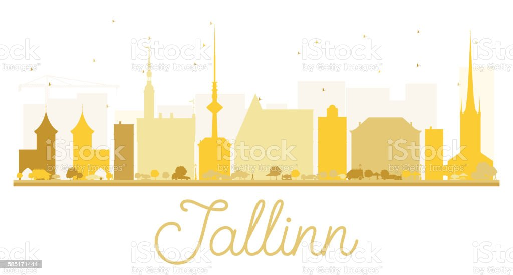 Tallinn City skyline golden silhouette. vector art illustration