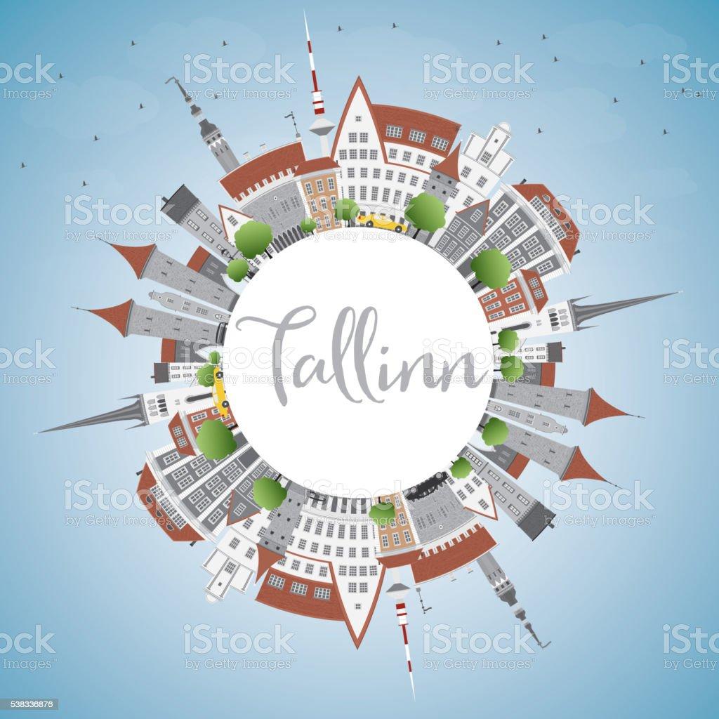 Tallinn Skyline with Gray Buildings, Blue Sky and Copy Space. vector art illustration