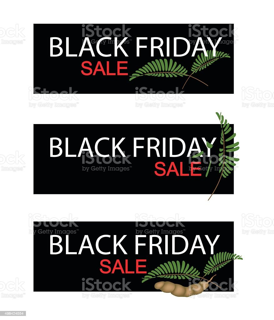 Tamarind Pods on Black Friday Sale Banner vector art illustration
