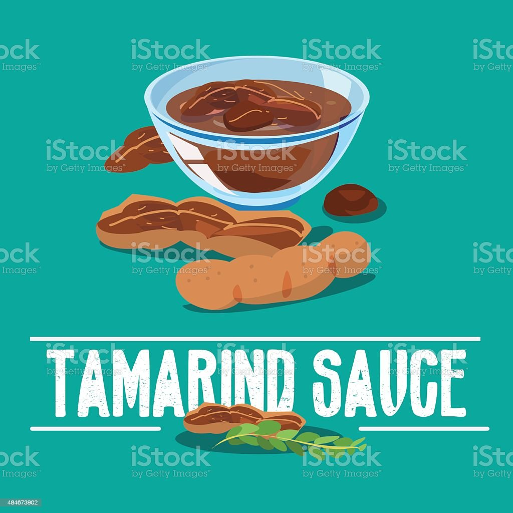 tamarind sauce - vector vector art illustration