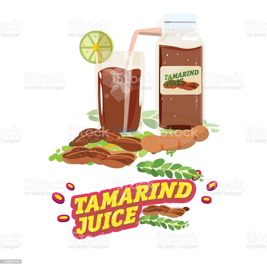 tamarind water. juice with letters design - vector vector art illustration