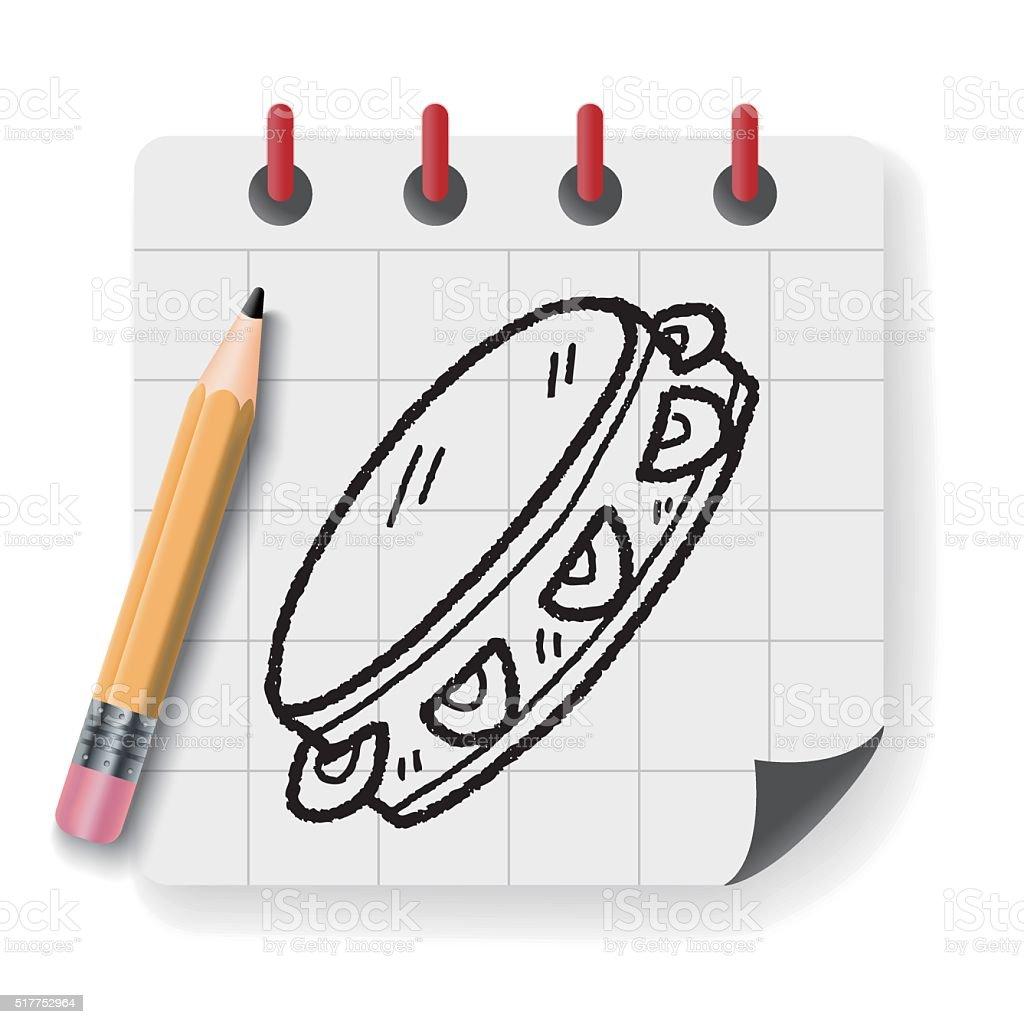 tambourine doodle vector art illustration