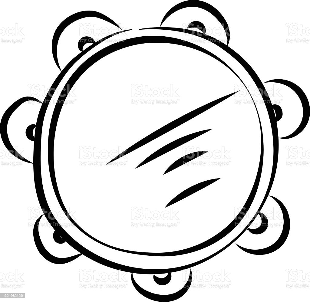 Tambourine Hand Drawn Vector Icon vector art illustration