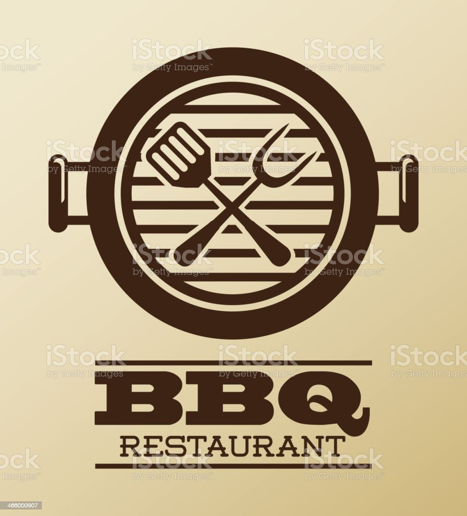 A tan and brown menu from a BBQ restaurant featuring a grill vector art illustration