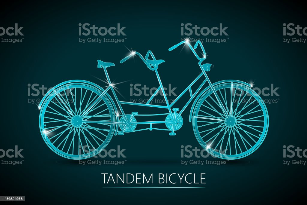 Tandem Bicycle Vector Background vector art illustration
