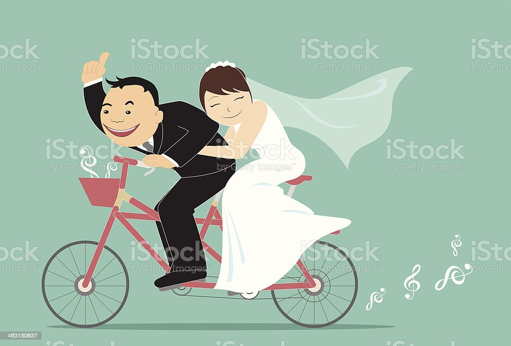 Tandem Bicycle Wedding vector art illustration