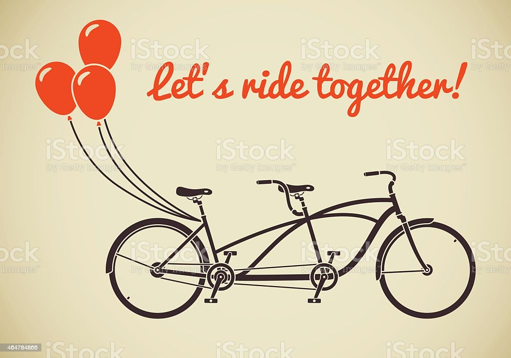 Tandem bicycle with balloons vector art illustration
