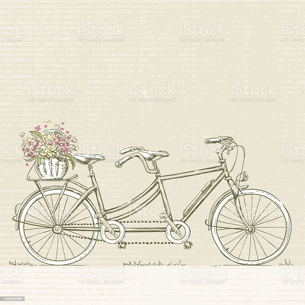 Tandem Bicycle with Flower Basket vector art illustration