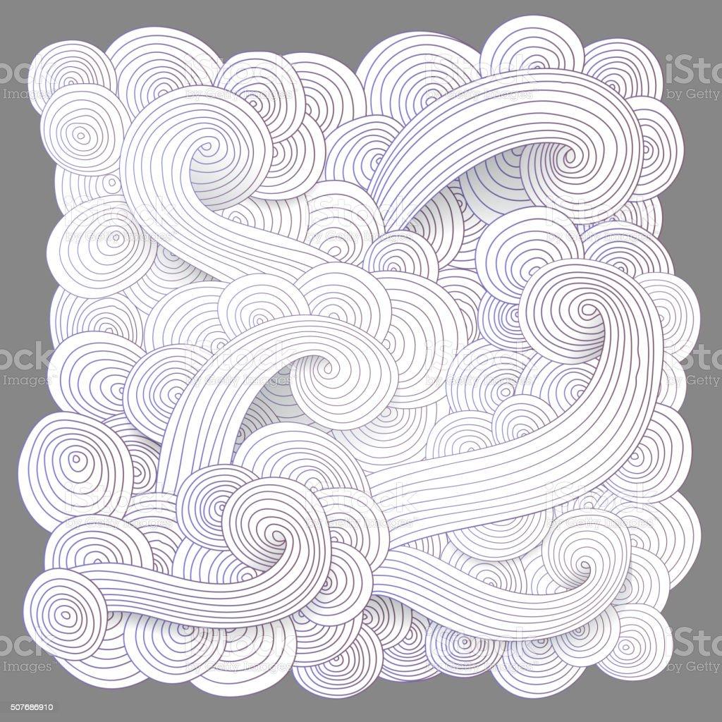 Tangled pattern, waves background. vector art illustration