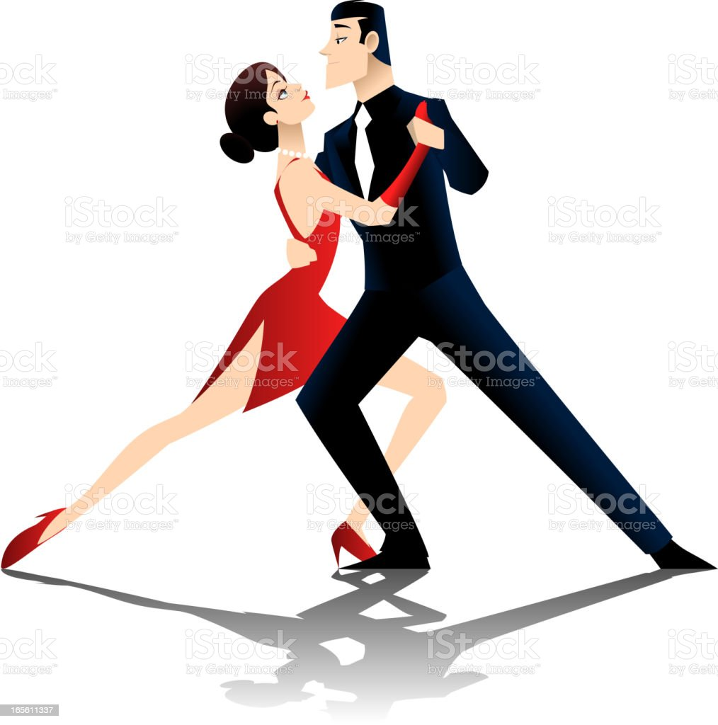 Tango dancers vector art illustration