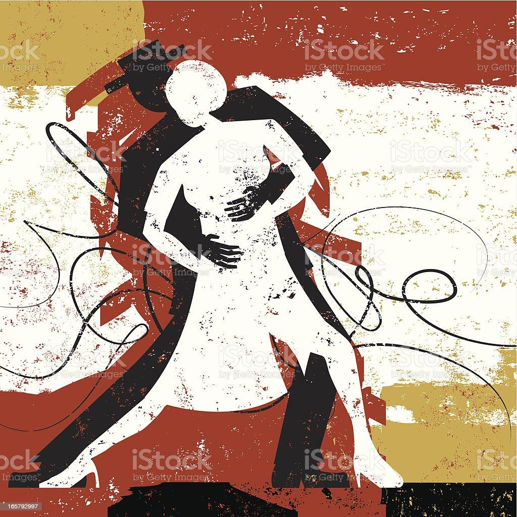 Tango lovers dancing vector art illustration