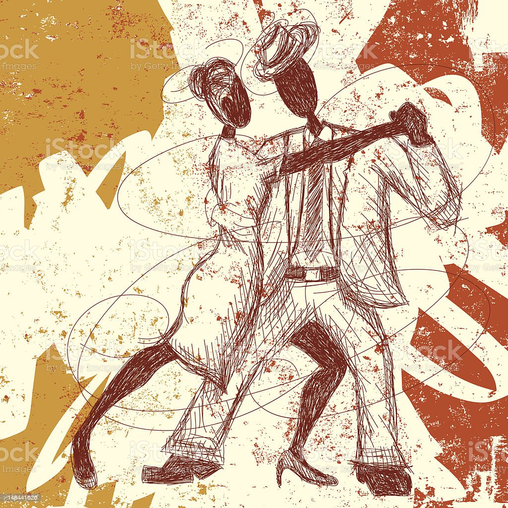 tango lovers vector art illustration