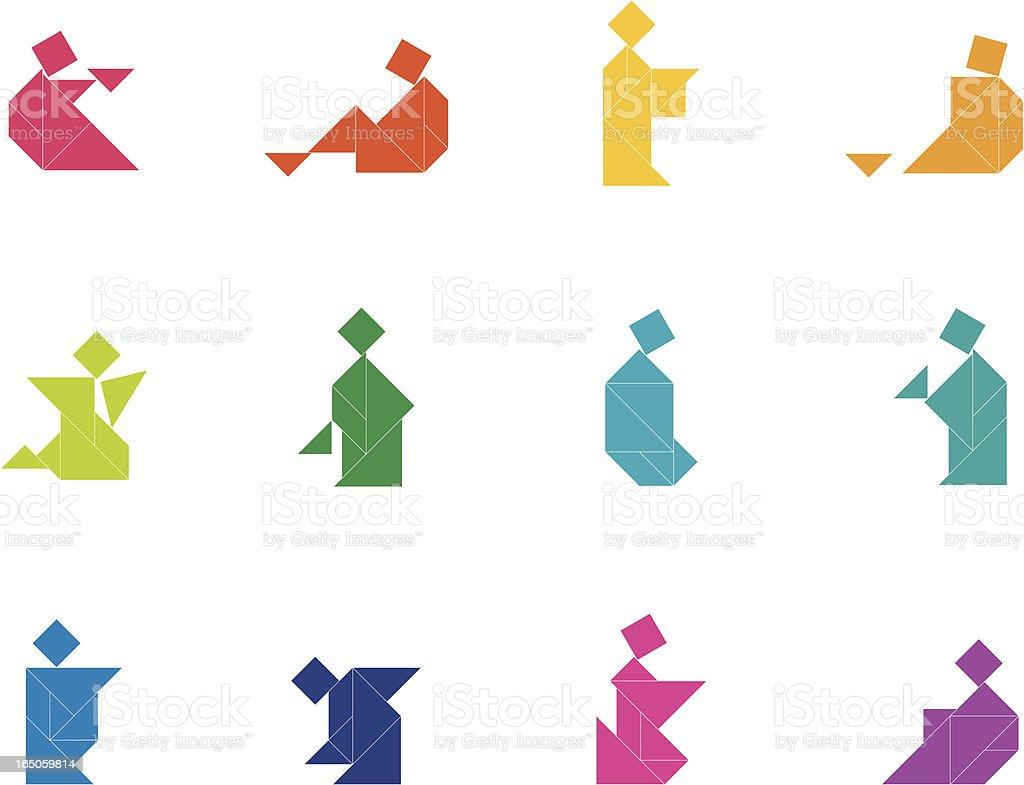 Tangram People Set   004 royalty-free stock vector art