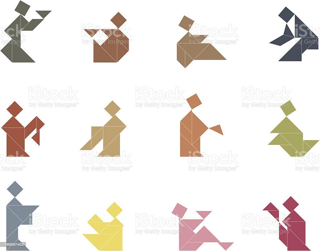 Tangram People Set | 005 vector art illustration