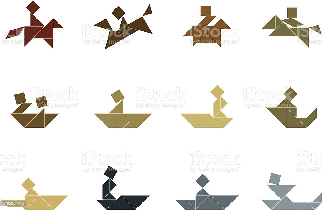 Tangram Recreation Icon Set royalty-free stock vector art