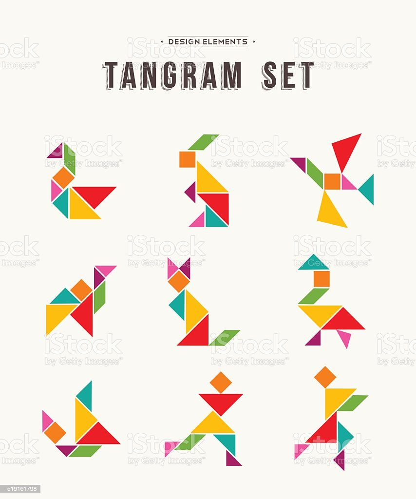 Tangram set creative art of colorful animal shapes vector art illustration