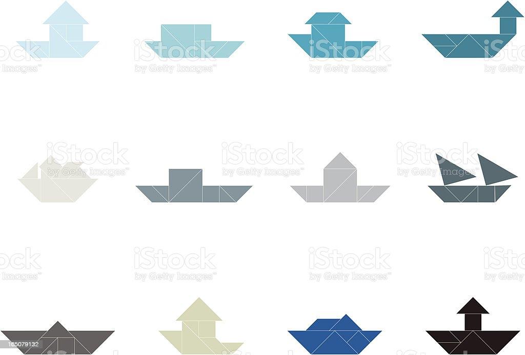Tangram Ship Set | 001 royalty-free stock vector art