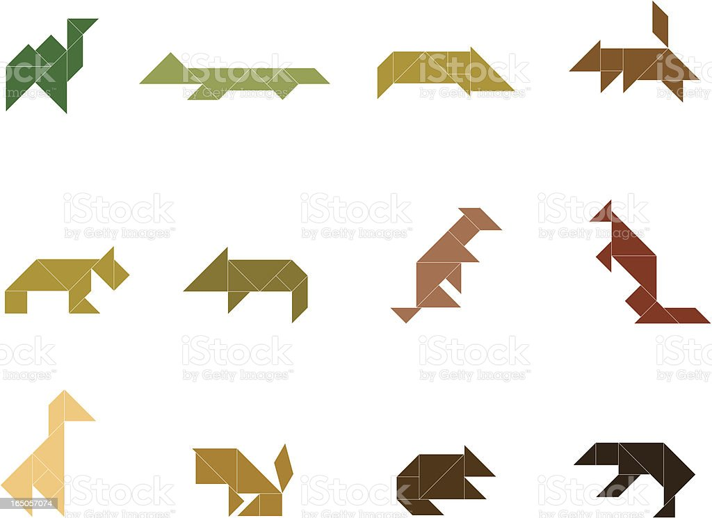 Tangram Wild Animal Set royalty-free stock vector art