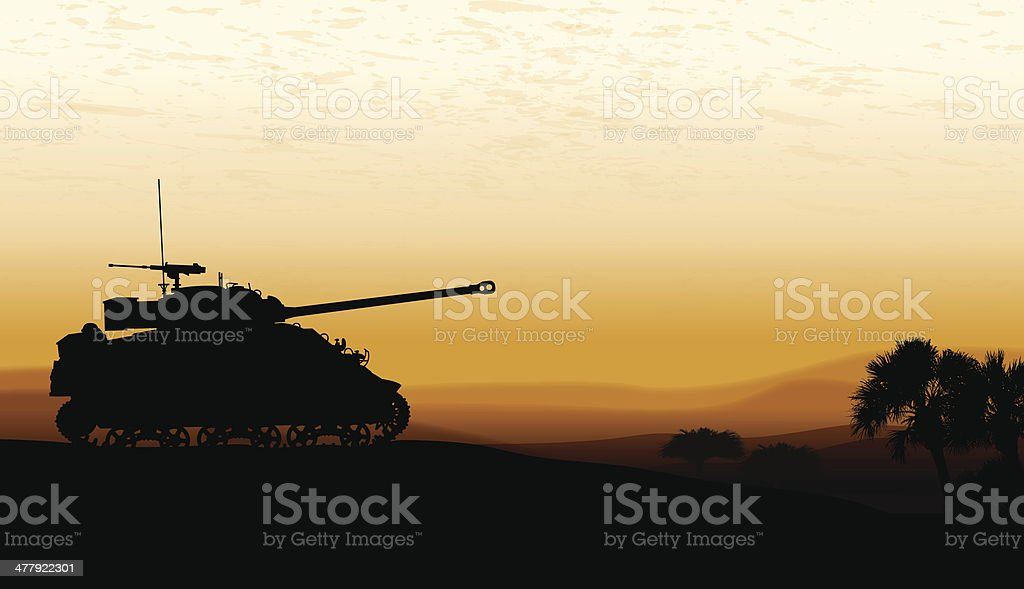 Tank at Twilight - War Background vector art illustration
