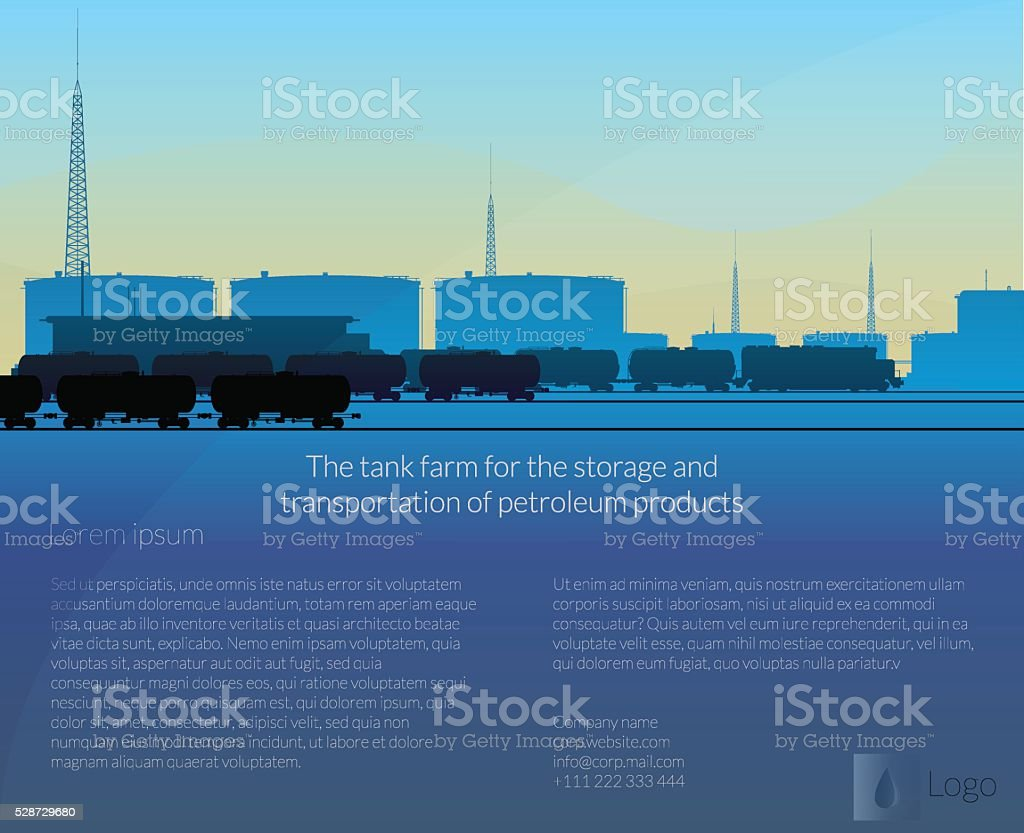 tank farm and a train carrying oil vector art illustration