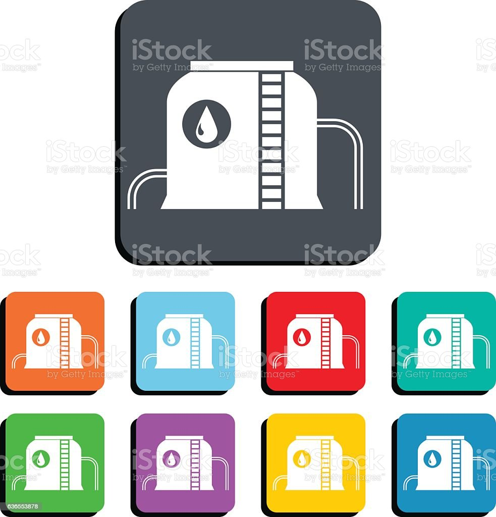 Tank For Storing Fuel, Oil, Gas Vector Icon Illustration vector art illustration