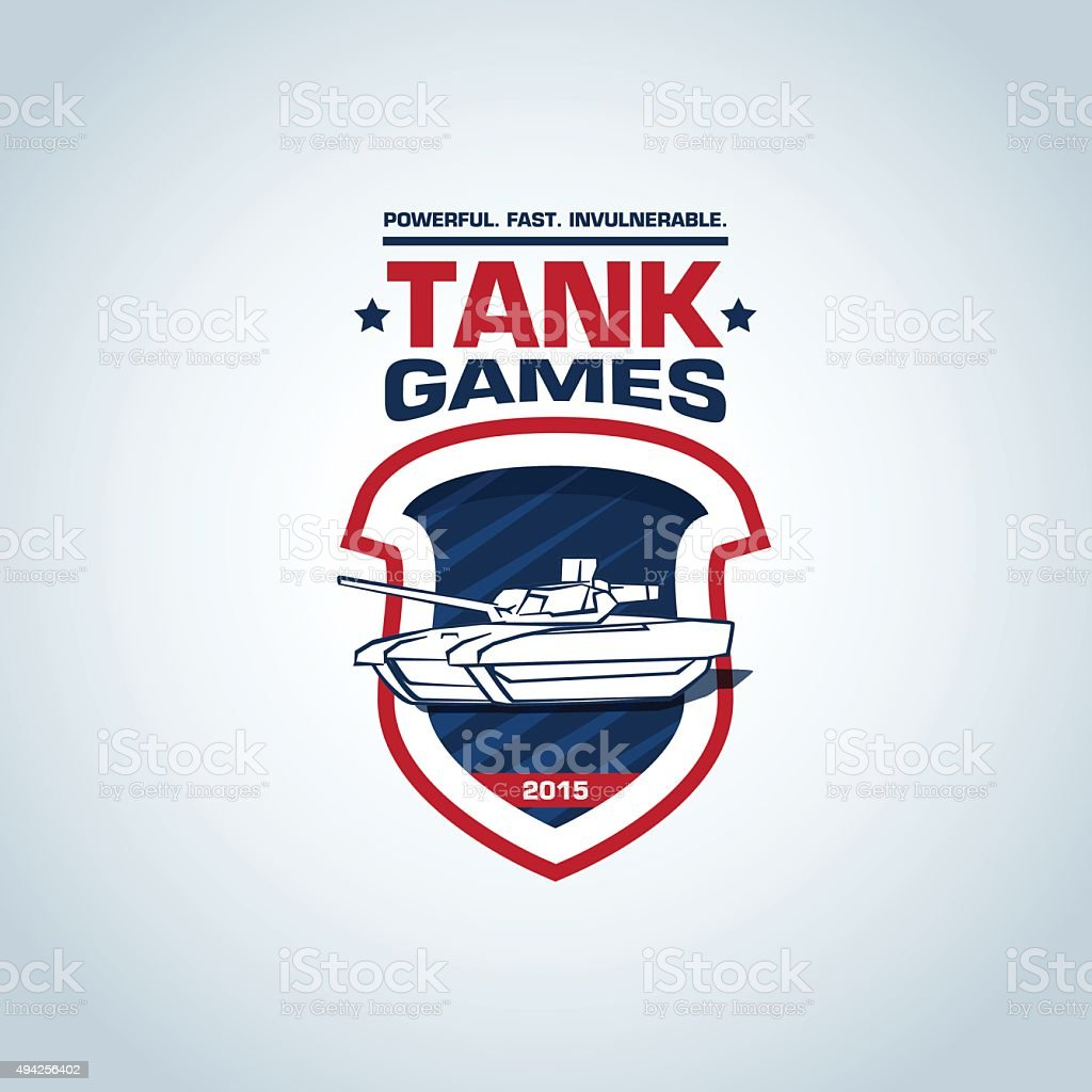 Tank games logo template. Tank logotype template design, military t-shirt. vector art illustration