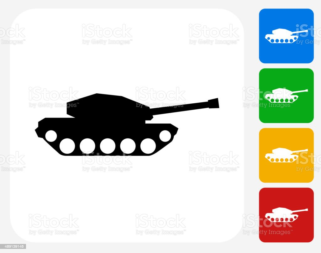 Tank Icon Flat Graphic Design vector art illustration