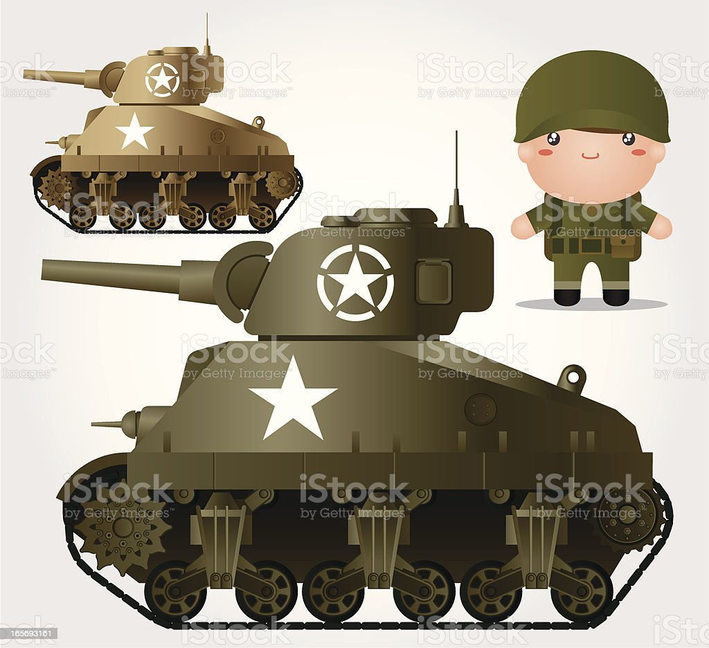 Tank M4 Sherman and Soldier vector art illustration